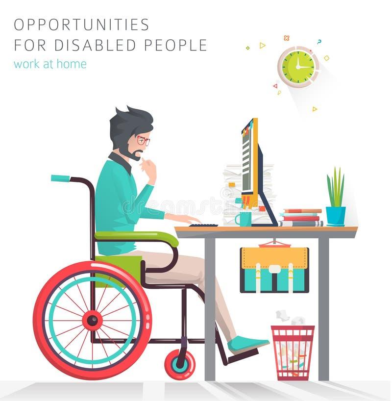 Концепция человека при инвалидность работая с тетрадью иллюстрация штока