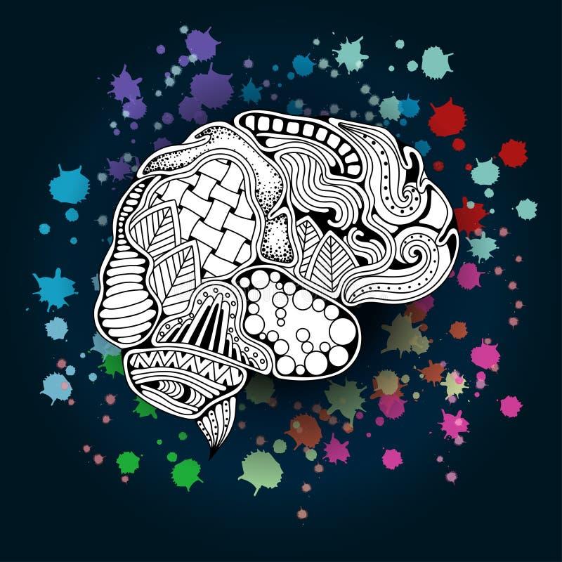 Концепция человеческого мозга также вектор иллюстрации притяжки corel бесплатная иллюстрация