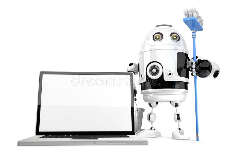 Концепция чистки компьтер-книжки Компьтер-книжка чистки робота с mop isola бесплатная иллюстрация