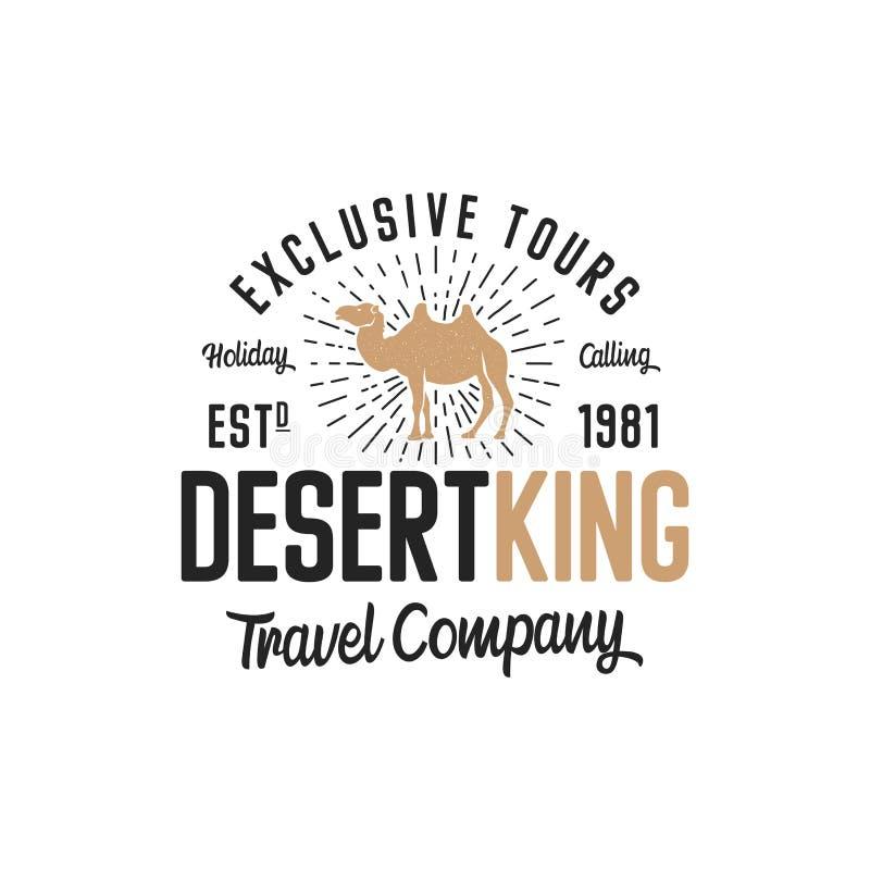 Концепция шаблона логотипа верблюда Логотип компании перемещения Цитата текста короля пустыни Исключение путешествует эмблема дел бесплатная иллюстрация
