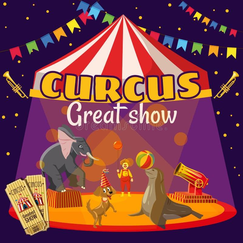 Концепция шатра выставки цирка, стиль шаржа иллюстрация штока
