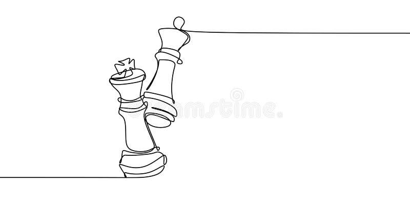 Концепция шахматов ферзя против короля Непрерывная одна линия иллюстрация вектора чертежа иллюстрация штока