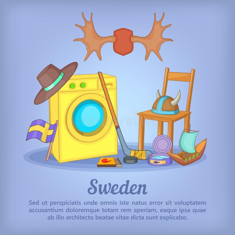 Концепция Швеции, стиль шаржа иллюстрация штока