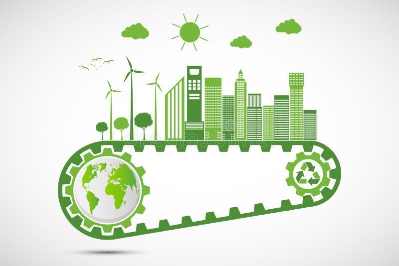Концепция шестерни сбережений экологичности и экологическое устойчивое развитие энергетики, иллюстрация вектора иллюстрация штока