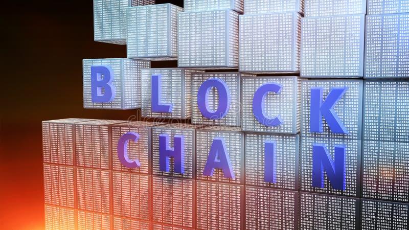Концепция шифрования Blockchain стоковое изображение