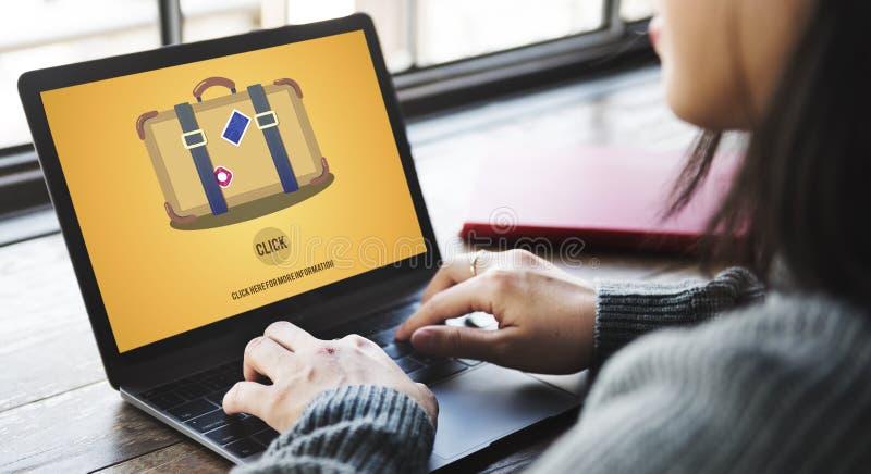 Концепция щелчка путешествием чемодана багажа перемещения стоковые изображения