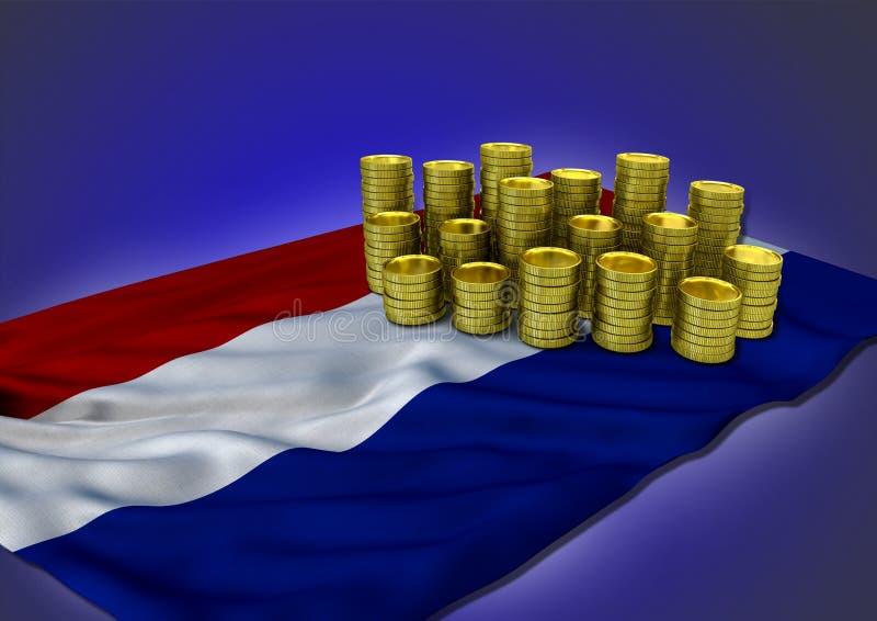 Концепция экономики Netherlandish с национальным флагом и золотыми монетками иллюстрация вектора