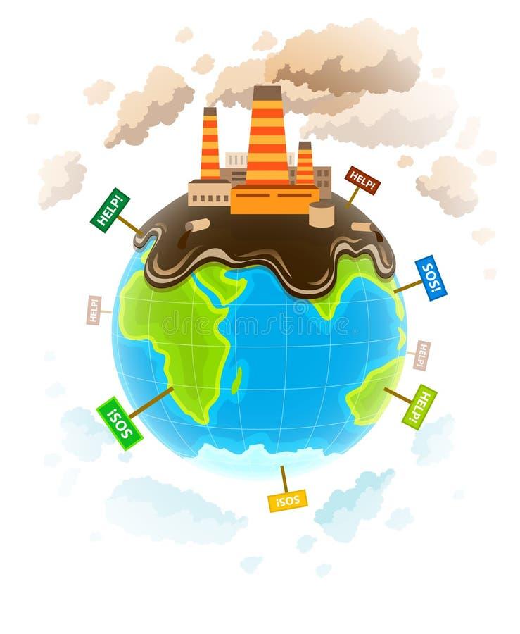 Концепция экологичности с пакостным ecocatastrophe планеты бесплатная иллюстрация