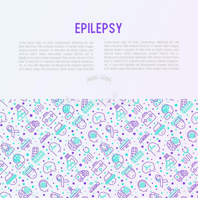 Концепция эпилепсии с тонкой линией значками бесплатная иллюстрация