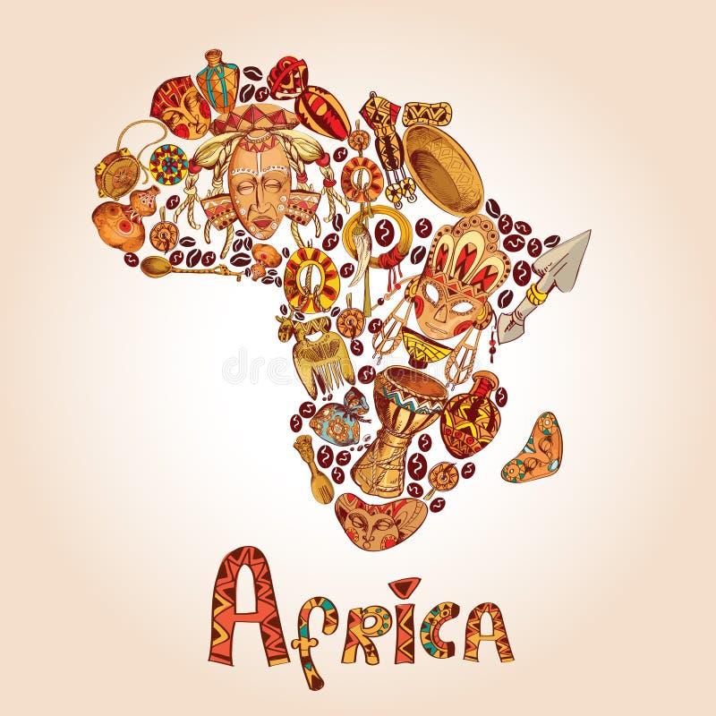 Концепция эскиза Африки иллюстрация вектора