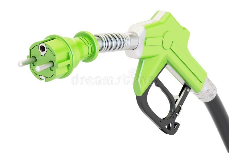 Концепция электрического автомобиля поручая Сопло газового насоса с электрическим иллюстрация вектора