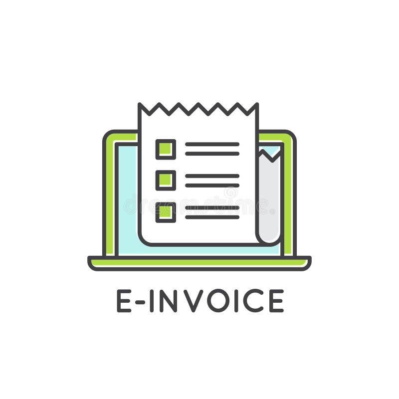 Концепция электронного ящика входящей почты бумаги почты E-фактуры, передвижной оплаты Netbank иллюстрация штока