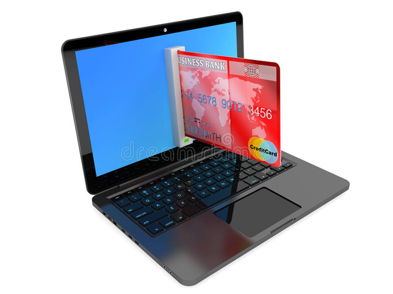 Концепция электронной коммерции. Портативный компьютер и кредитная карточка стоковые фотографии rf