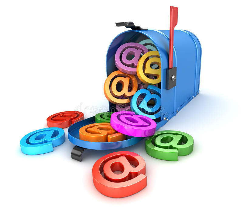 Концепция электронной почты с почтовым ящиком иллюстрация штока