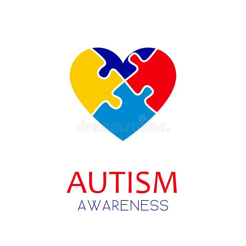 Концепция элементов головоломки осведомленности аутизма иллюстрация вектора