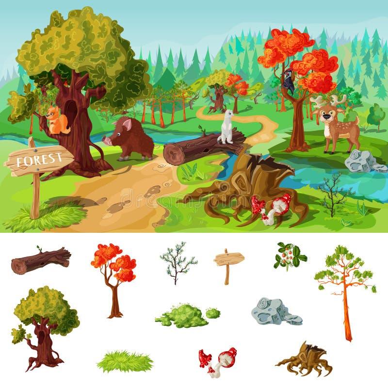 Концепция элементов леса иллюстрация вектора