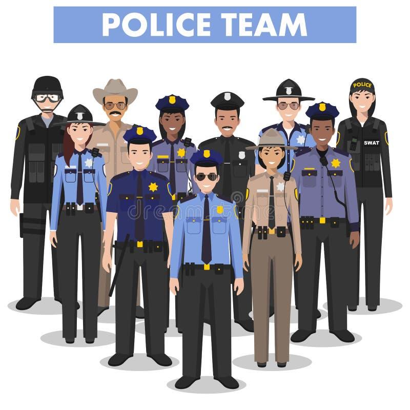Концепция людей полиции Детальная иллюстрация офицера, полицейския, женщина-полицейского и шерифа СВАТ в плоском стиле на белизне иллюстрация штока