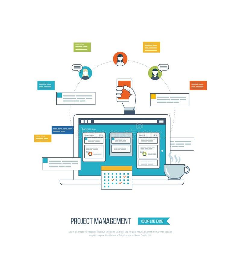 Концепция для анализа возможностей производства и сбыта, советуя с, планирование стратегии, руководство проектом иллюстрация штока