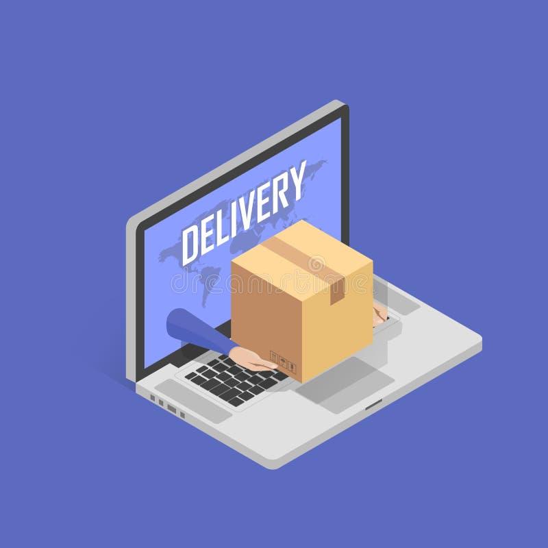 Концепция для быстрого онлайн обслуживания поставки Рука посыльного давая коробку пакета из экрана компьтер-книжки Равновеликая и иллюстрация вектора