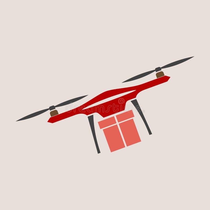 Концепция для обслуживания поставки Трутень поставки с пакетом f иллюстрация вектора
