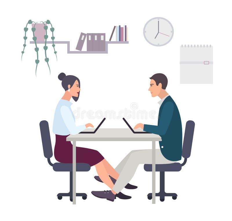 Концепция для романс офиса, flirting на работе, любовная интрига Пары, человек и женщина работая на компьтер-книжке Цветастый век иллюстрация вектора