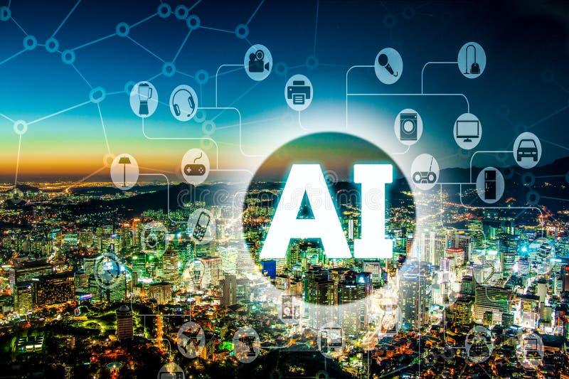 Концепция AI или искусственного интеллекта с современным городским городом на ноче стоковое изображение
