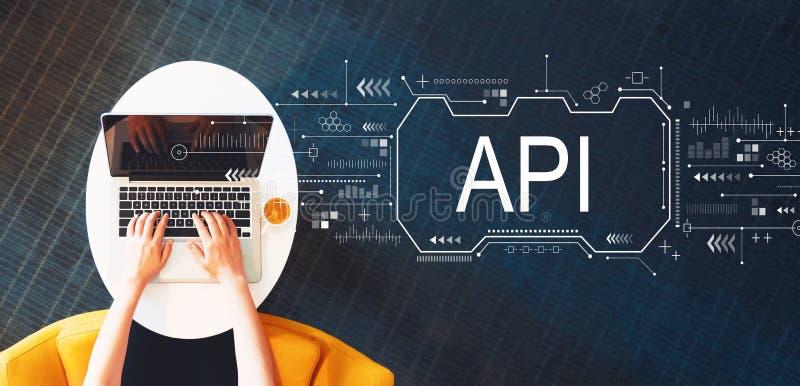 Концепция API с человеком используя ноутбук стоковое изображение