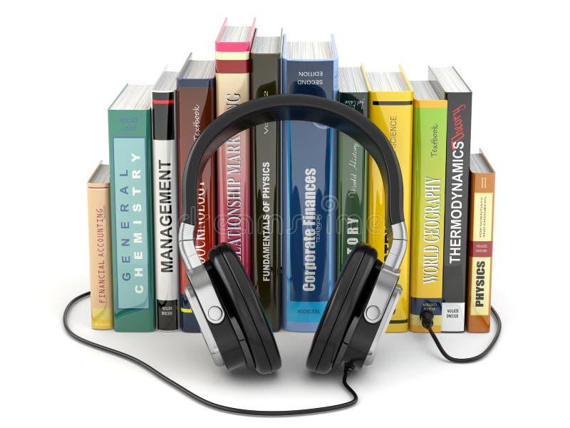 Концепция Audiobook. Наушники и книги иллюстрация вектора