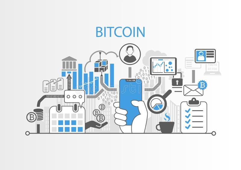 Концепция Bitcoin с рукой держа телефон современного шатона свободный умный иллюстрация вектора