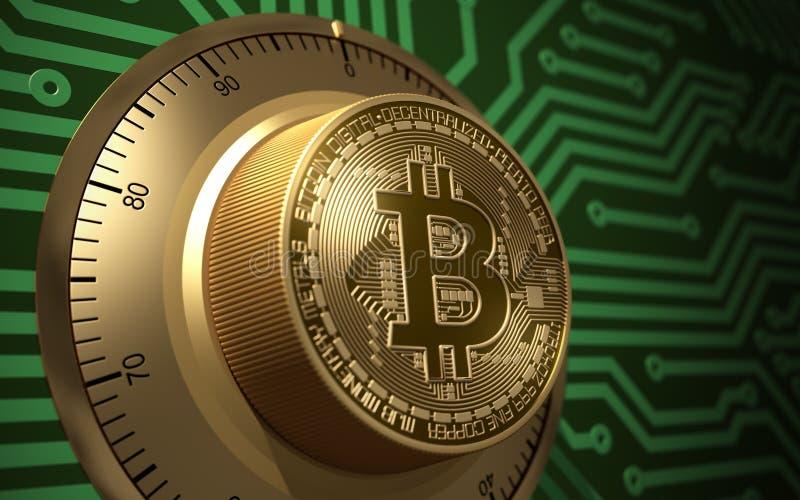 Концепция Bitcoin любит электронный безопасный замок иллюстрация штока