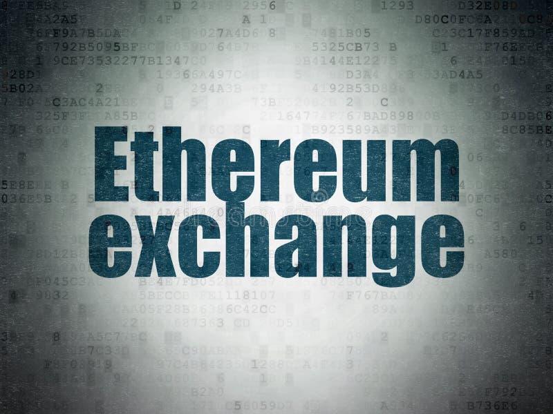 Концепция Blockchain: Обмен Ethereum на предпосылке бумаги цифровых данных иллюстрация вектора