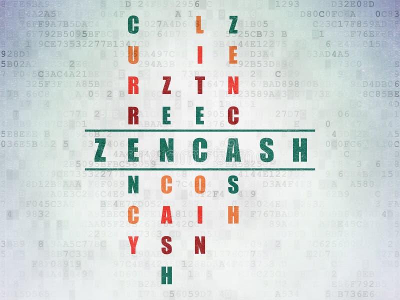 Концепция Blockchain: слово Zencash в кроссворде бесплатная иллюстрация