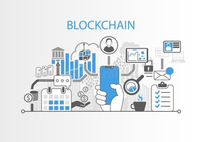 Концепция Blockchain с рукой держа телефон современного шатона свободный умный иллюстрация штока