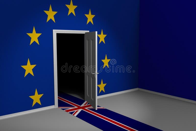 Концепция Brexit Великобритании и Европейского союза Британии выходя через дверь, перевод 3D бесплатная иллюстрация