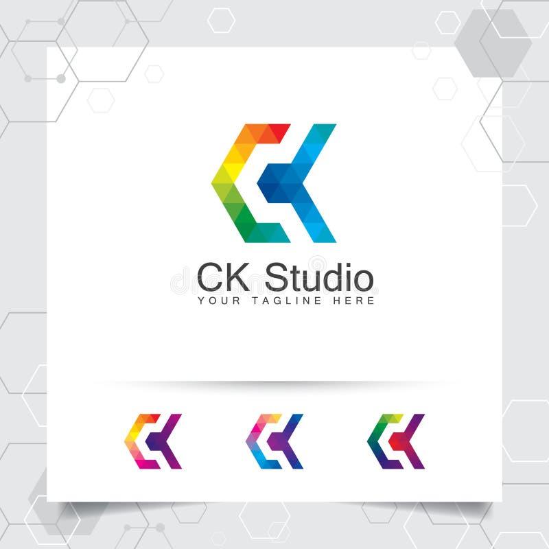 Концепция c письма вектора дизайна логотипа цифров с современным красочным пикселом для технологии, программного обеспечения, сту иллюстрация штока
