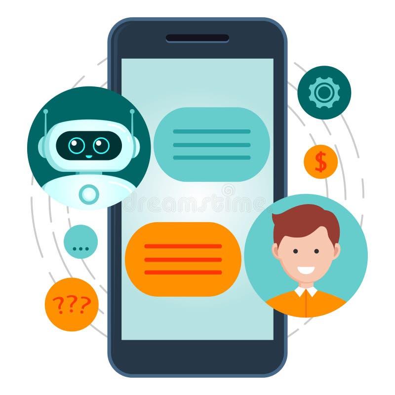 Концепция Chatbot Человек связывая со средством болтовни Обслуживание помощи диалога иллюстрация вектора