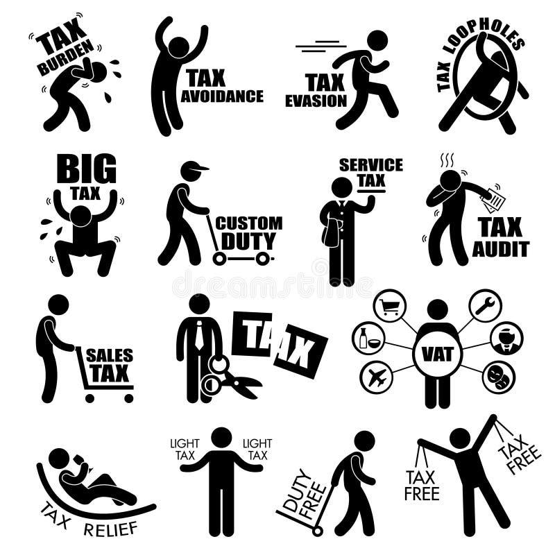 Концепция Cliparts подоходного налога налогоплательщика иллюстрация вектора