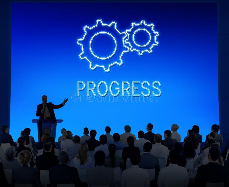 Концепция Cogwheel Develpoment прогресса достижения дела стоковое изображение