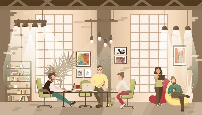 Концепция coworking офиса иллюстрация штока