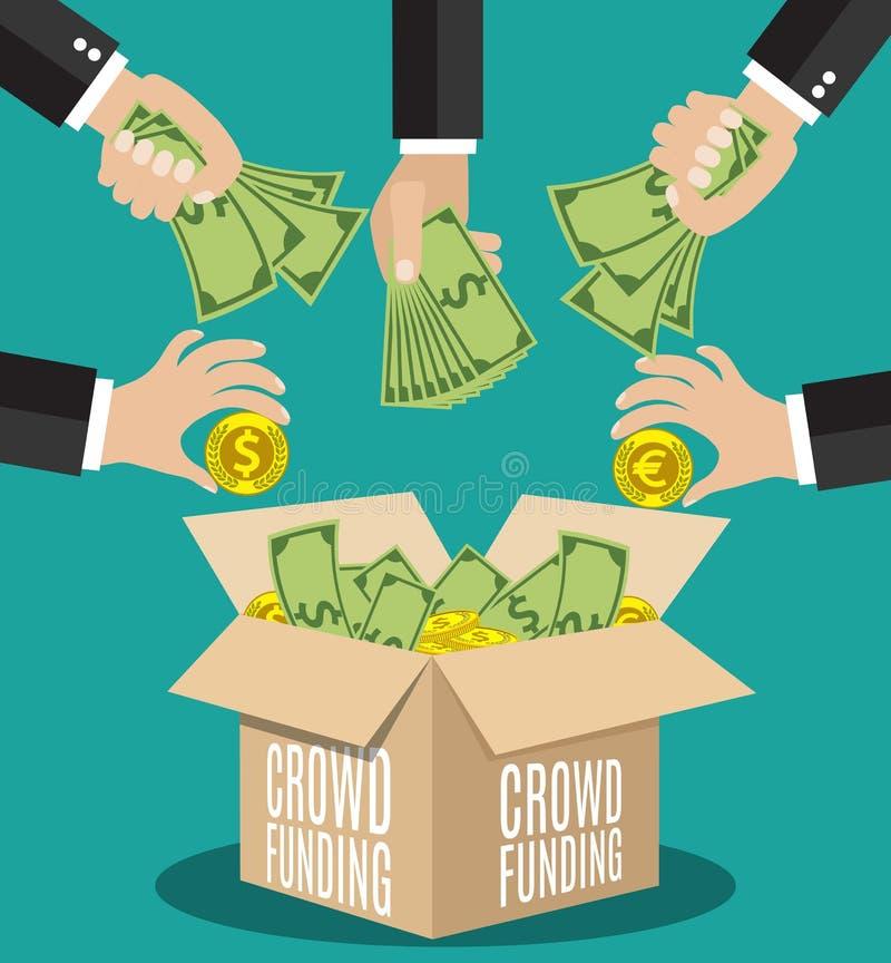 Концепция Crowdfunding плоская бесплатная иллюстрация