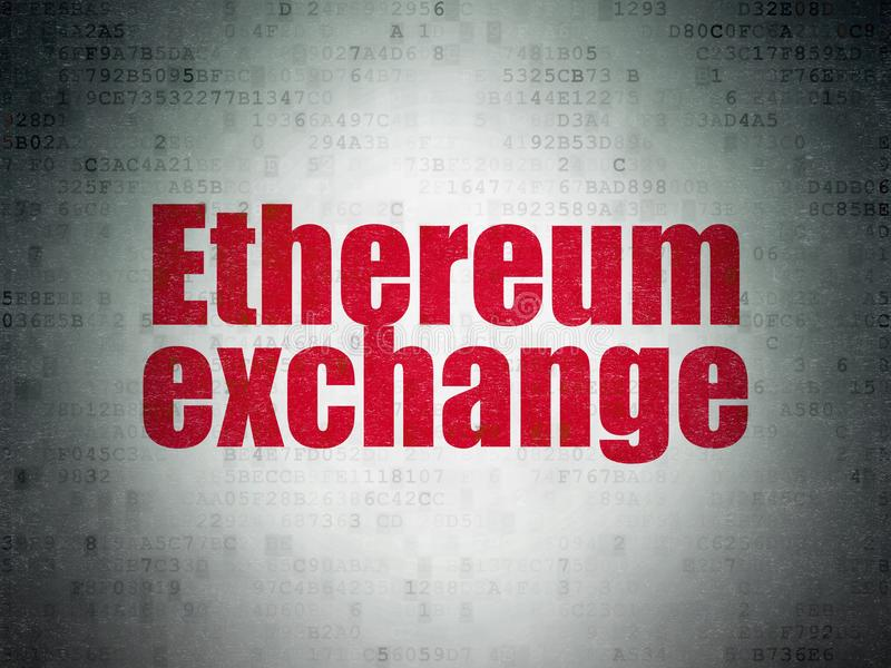 Концепция Cryptocurrency: Обмен Ethereum на предпосылке бумаги цифровых данных иллюстрация вектора