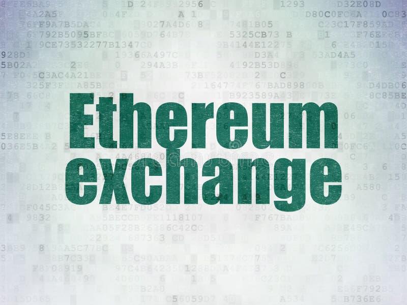 Концепция Cryptocurrency: Обмен Ethereum на предпосылке бумаги цифровых данных иллюстрация штока