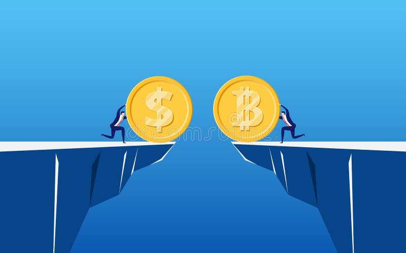 Концепция cryptocurrency Bitcoin виртуального дела цифрового Бизнесмены держат золотую монетку Bitcoin и доллара для того чтобы о бесплатная иллюстрация