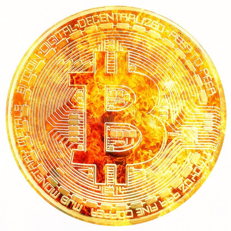 Концепция cryptocurrency Bitcoin, графический коллаж, влияние огня бесплатная иллюстрация
