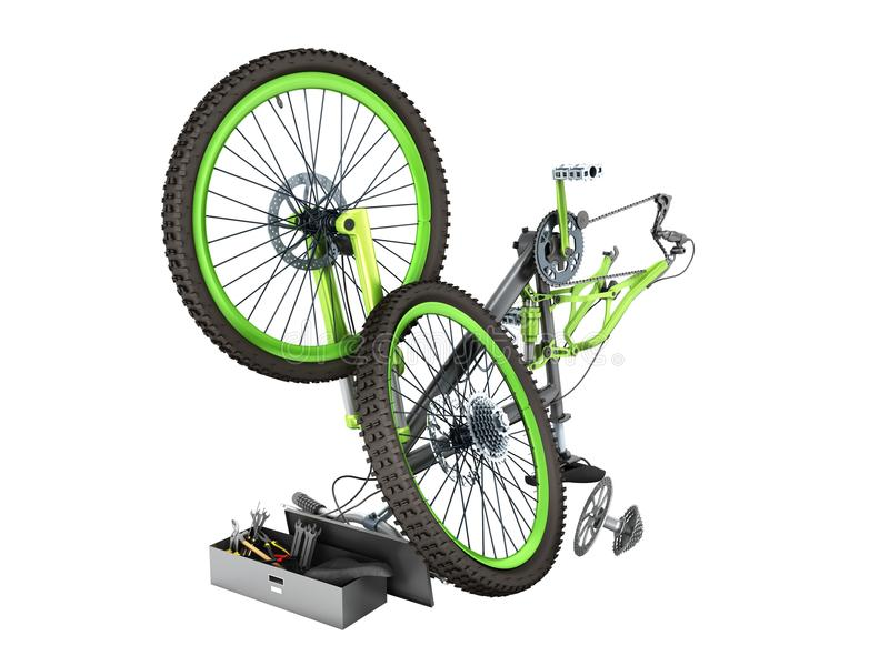 Концепция 3d ремонта велосипеда не представляет на белизне никакую тень бесплатная иллюстрация