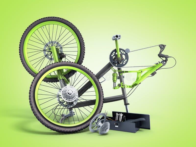 Концепция 3d ремонта велосипеда представляет на зеленом градиенте иллюстрация штока
