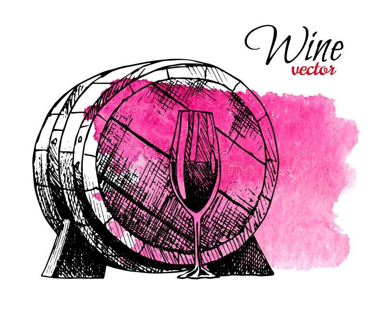 Концепция degustation вина в дизайне руки вычерченном Бочонок, бокал вина виноградин на предпосылке акварели красной бесплатная иллюстрация