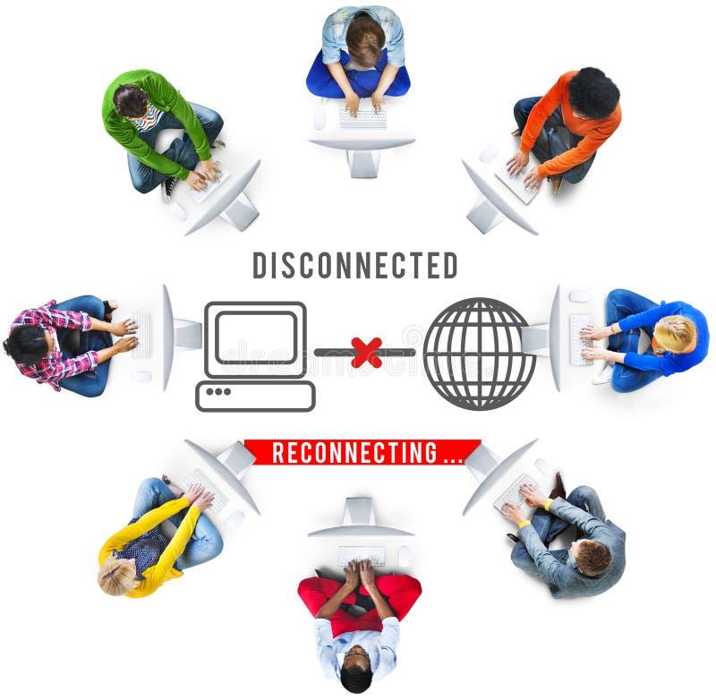 Концепция disconnected ошибки разъединения труднопоступная стоковые изображения rf