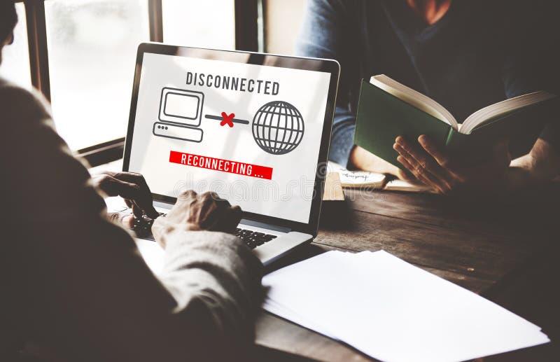 Концепция disconnected ошибки разъединения труднопоступная стоковая фотография rf