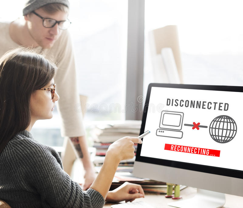 Концепция disconnected ошибки разъединения труднопоступная стоковое фото rf